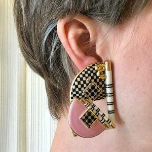 Vintage Jewelry - Vintage 80s/90s sculptural porcelain earrings